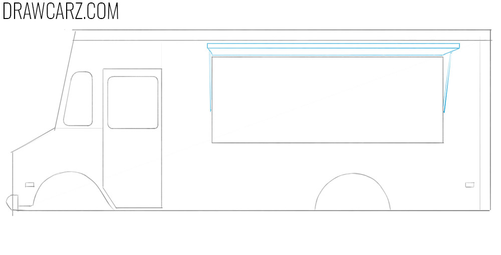 how to draw a food truck easy step by step