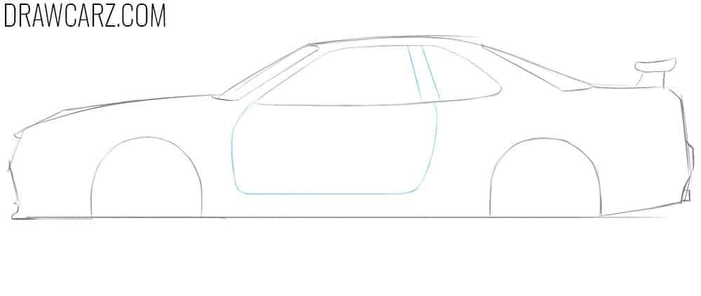 how to draw a nissan skyline gtr r34