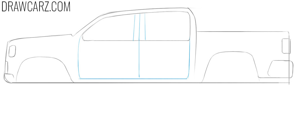 how to draw a simple truck from the side