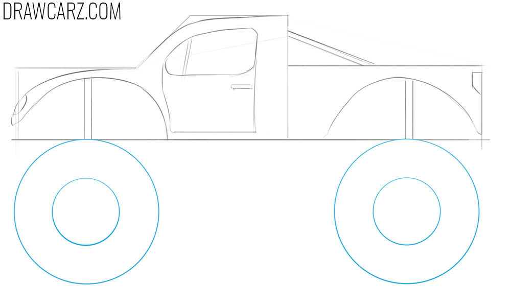 how to draw an easy monster truck step by step