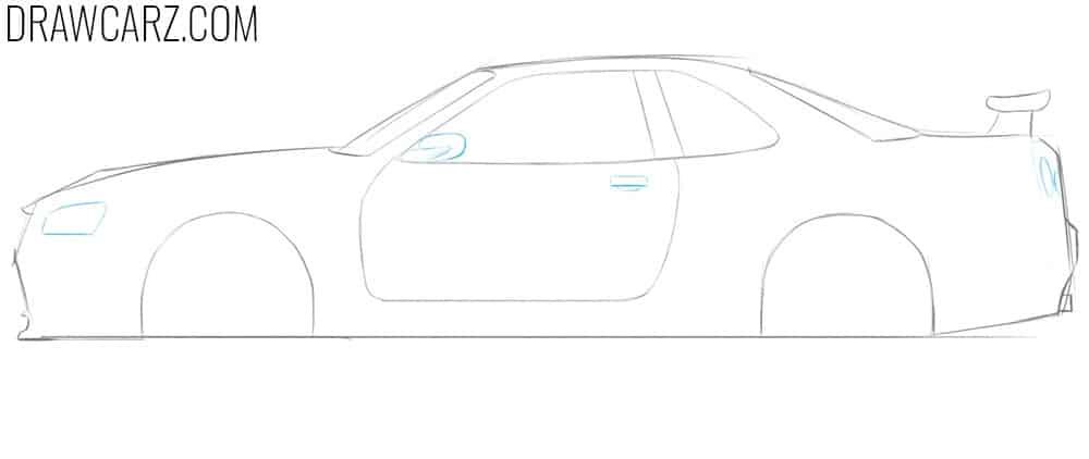 how to draw a car nissan skyline
