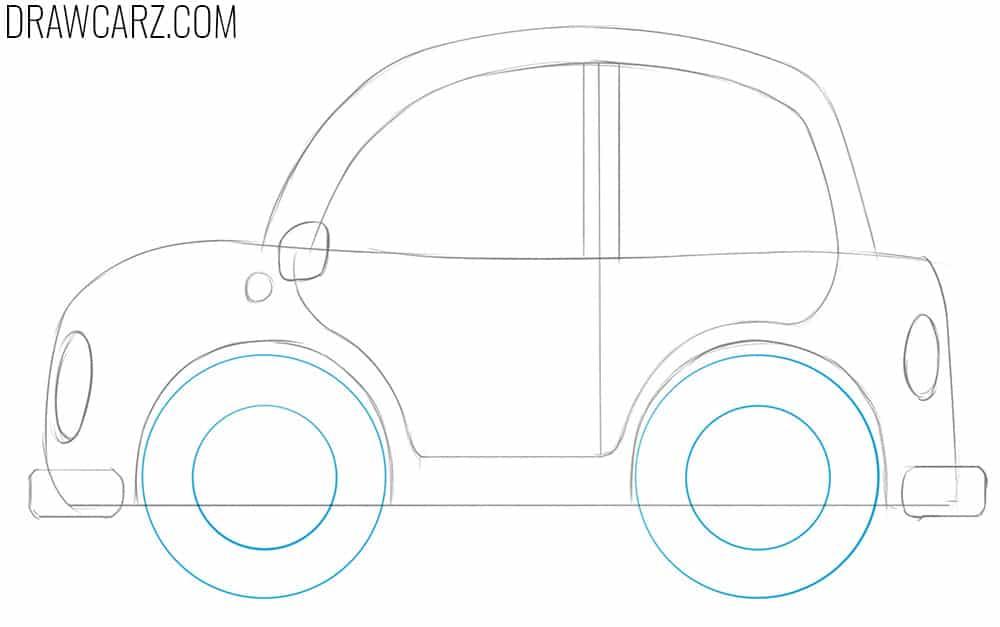how to draw a cartoon car easy