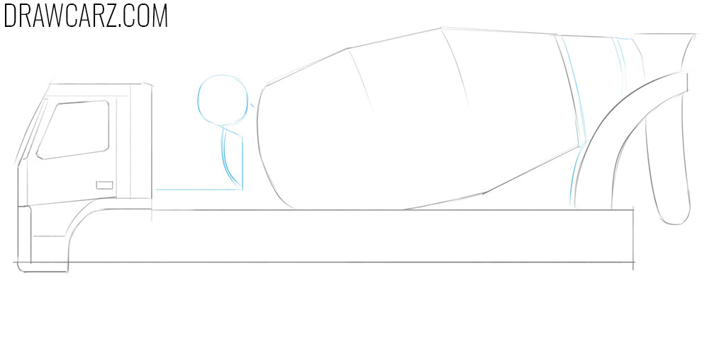 how to draw a concrete mixing truck easy