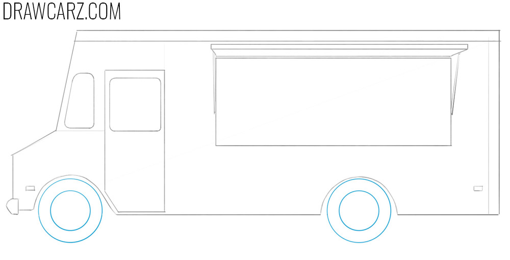 how to draw a food truck for beginners