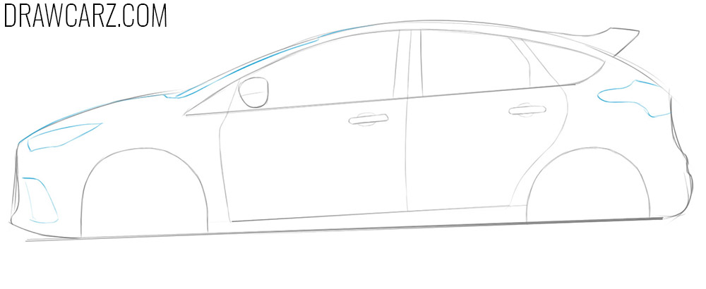 how to draw a ford focus rs step by step easy