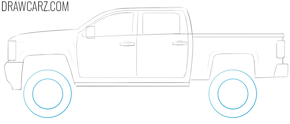 how to draw a lifted car