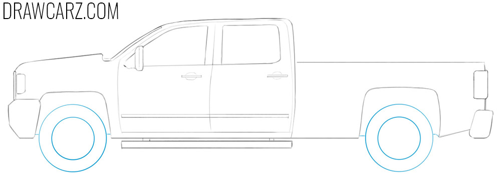 how to draw a pickup truck step by step easy
