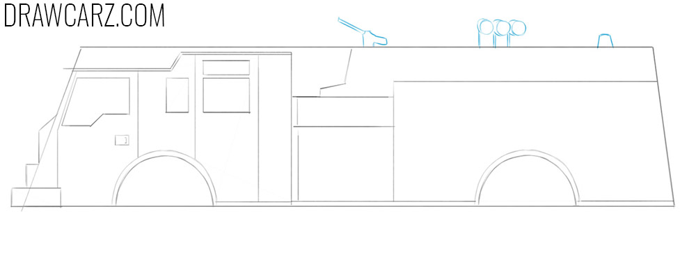how to draw an easy fire truck