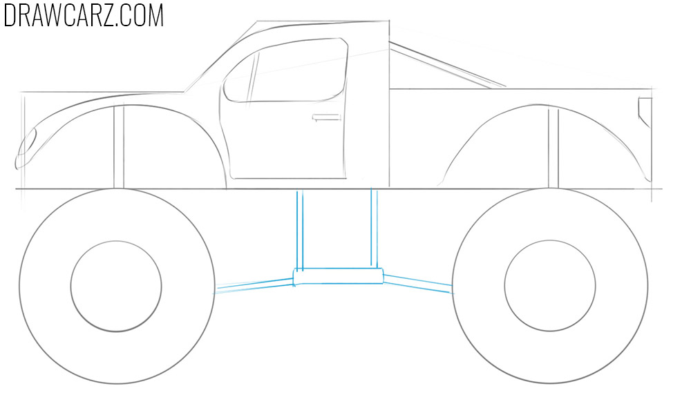 how to draw an easy monster truck