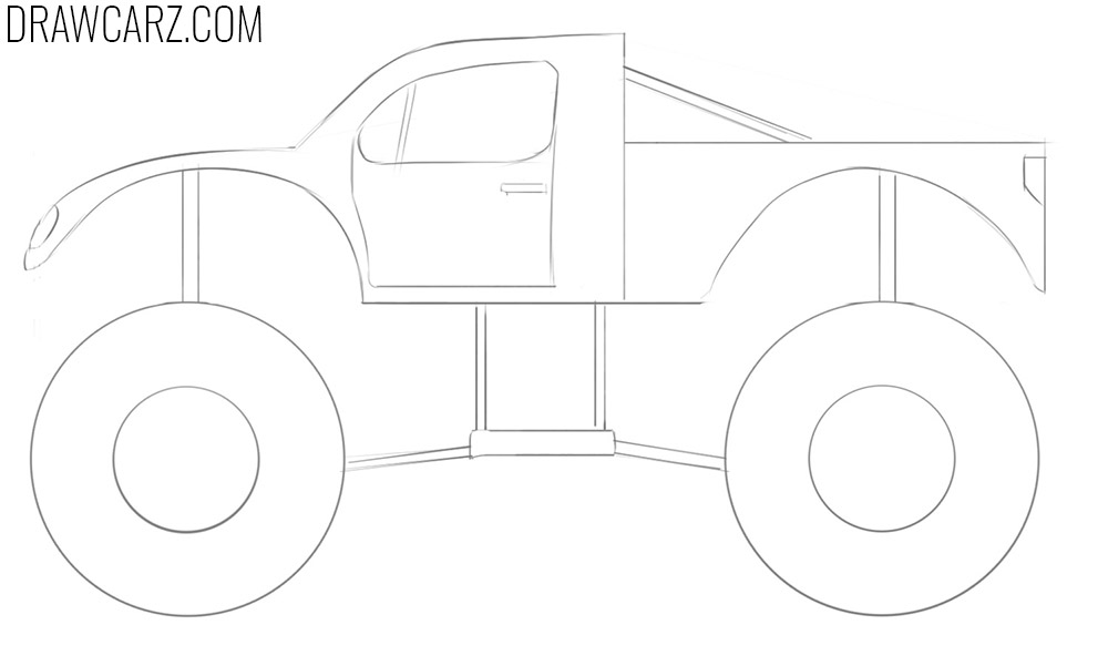 easy way to draw a monster truck