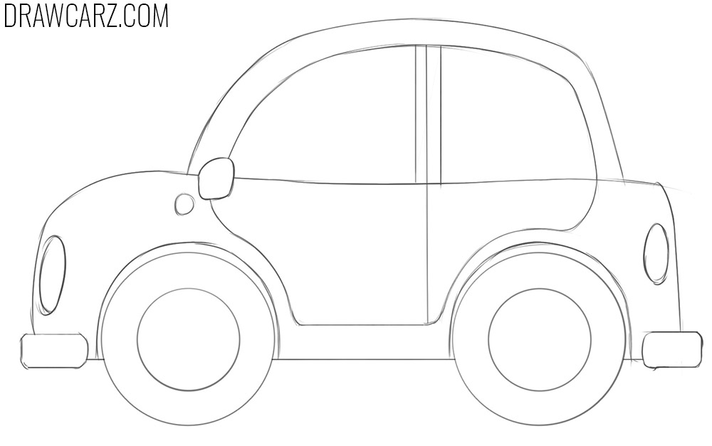 how to draw a cartoon car