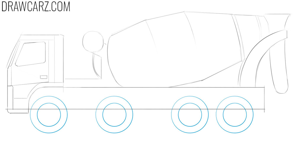how to draw a concrete mixing truck
