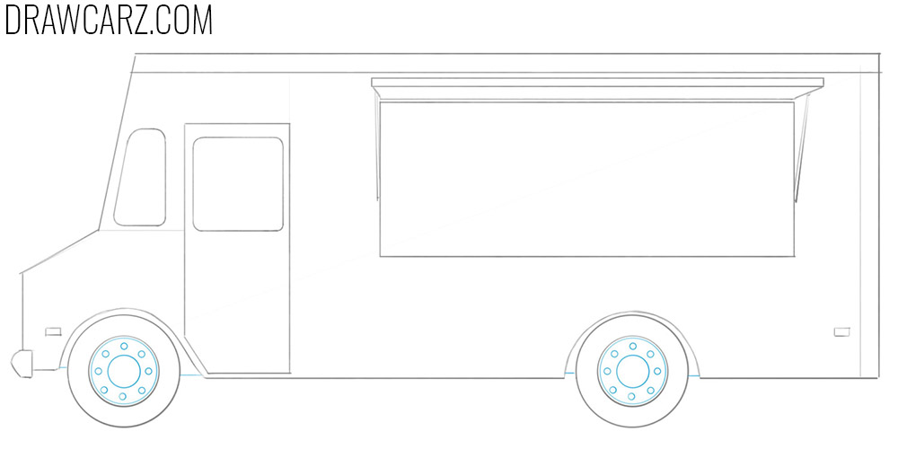 how to draw a food truck easy