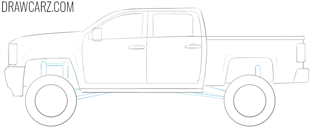 how to draw a lifted truck step by step