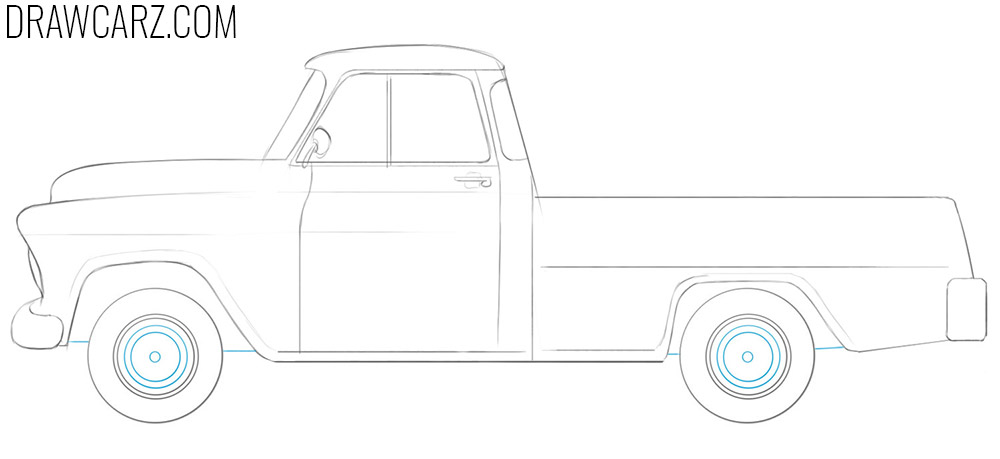 how to draw a old chevy truck step by step