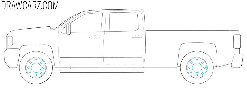 how to draw a pickup truck easy