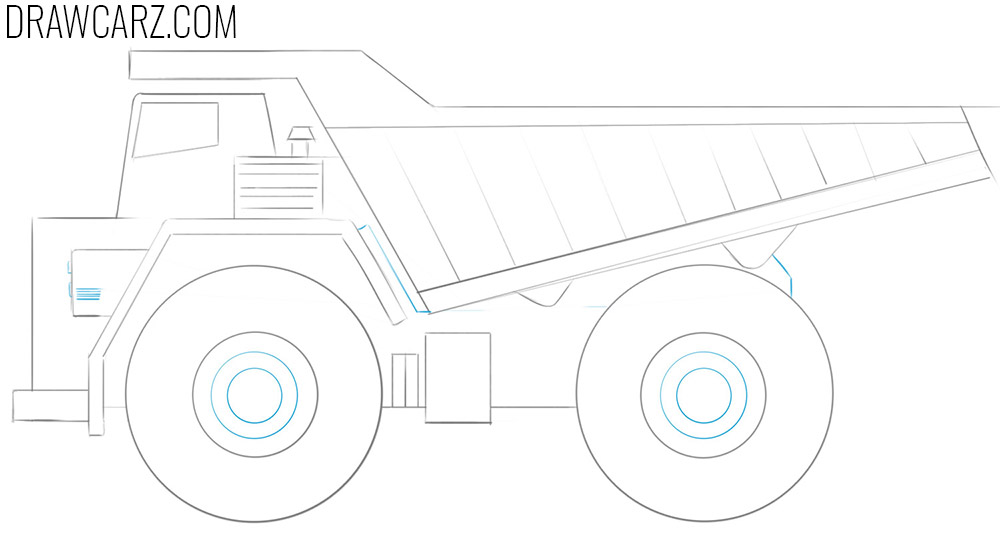 how to draw a simple dump truck