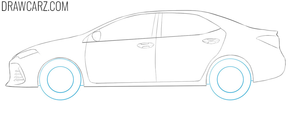 how to draw a toyota corolla step by step