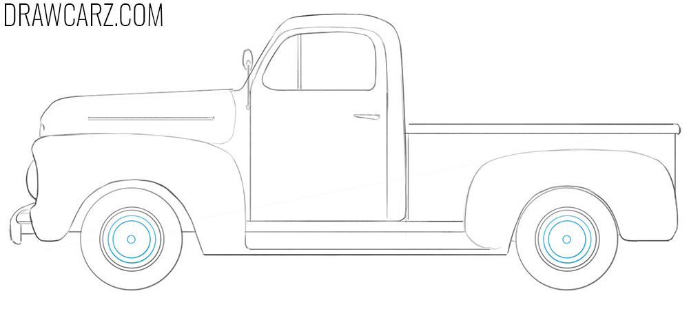 how to draw an Old Ford Truck easy