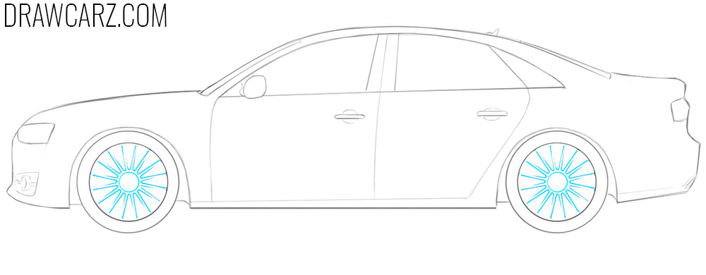 how to draw audi car step by step