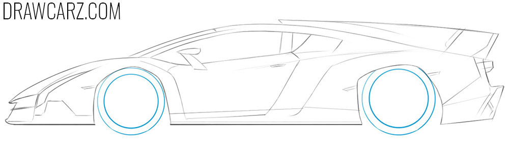 how to draw a Lamborghini from the side
