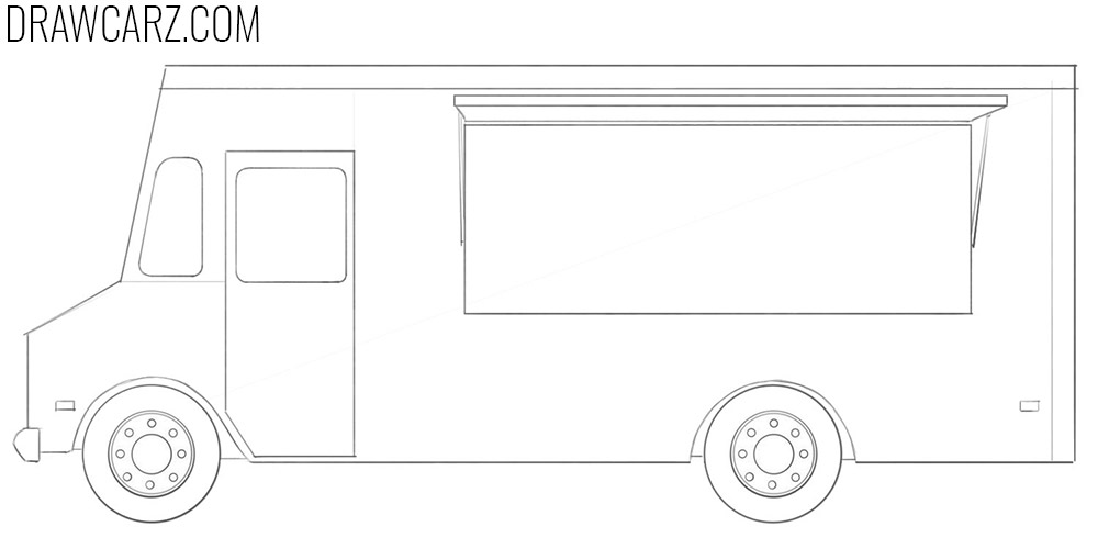 how to draw a food truck