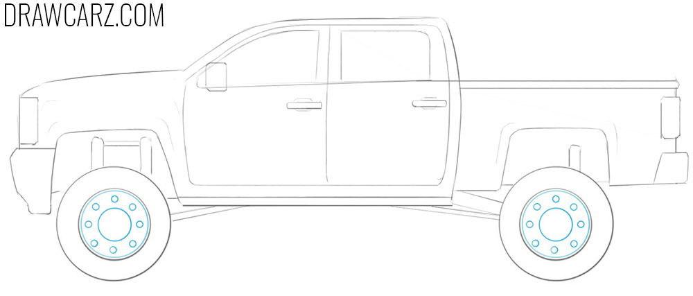 how to draw a lifted truck easy