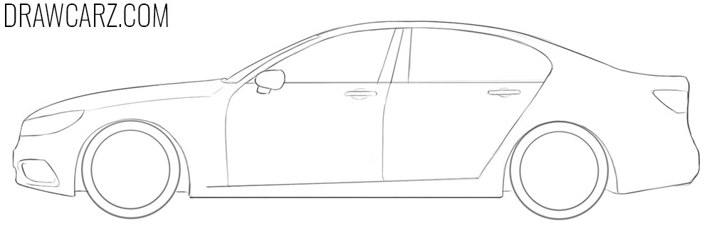 how to draw a simple car from the side