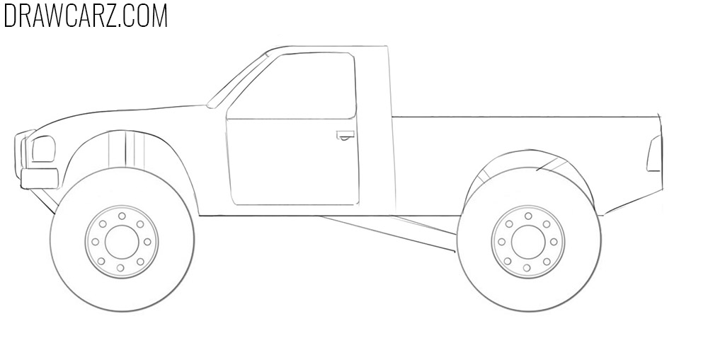 how to draw an off road truck