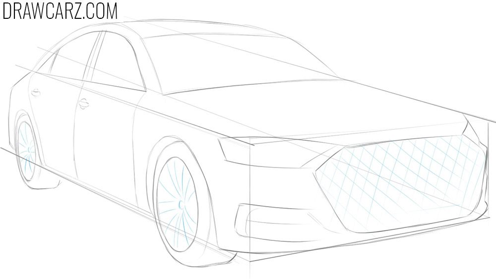 how to draw a car in one point perspective