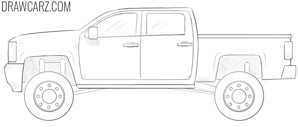 how to draw a lifted truck