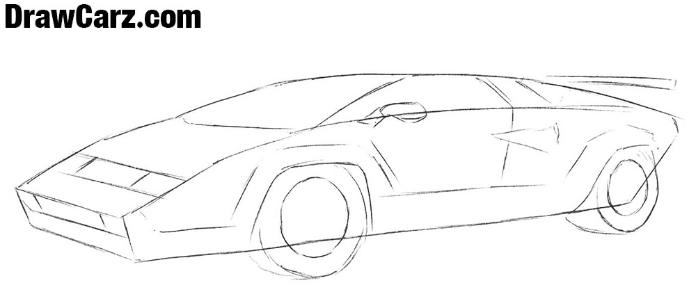 How to draw a Lamborghini Countach step by step