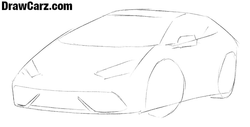 How to draw a Sports Car for easy