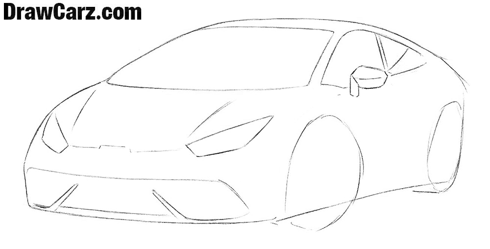 How to draw a Sports Car for Beginners step by step