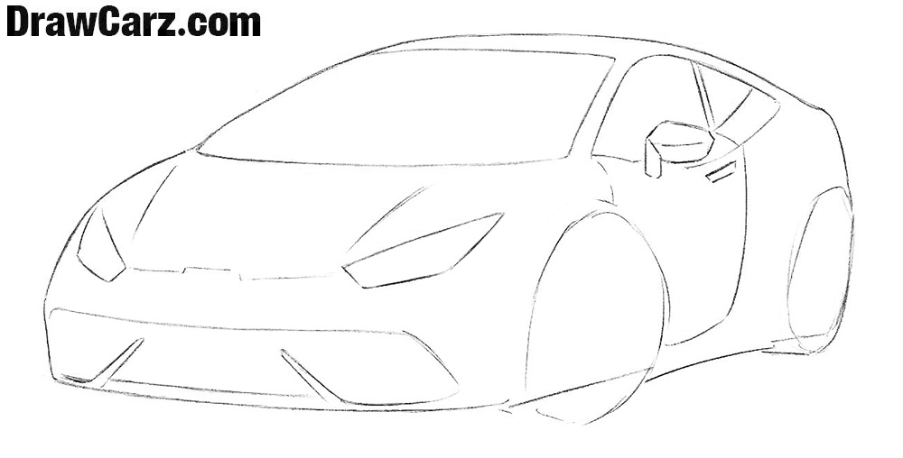 How to draw a Sports Car for Beginners easy