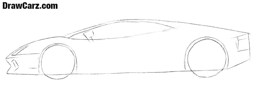 How to draw a Lamborghini from side