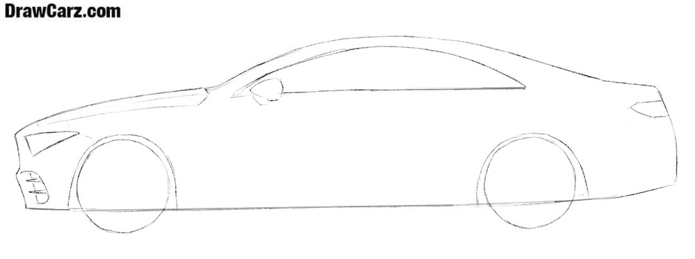 How to draw a car from side