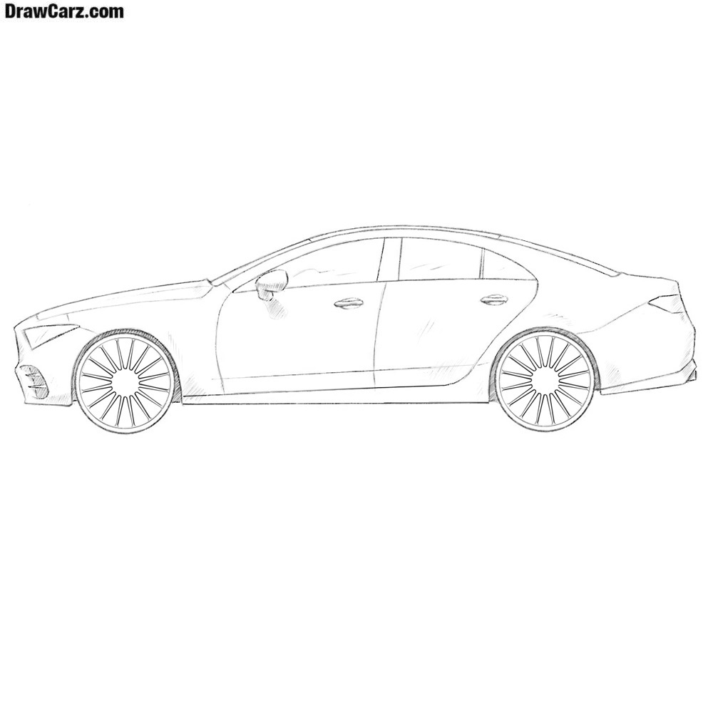 It is an image of Astounding Side View Of Car Drawing