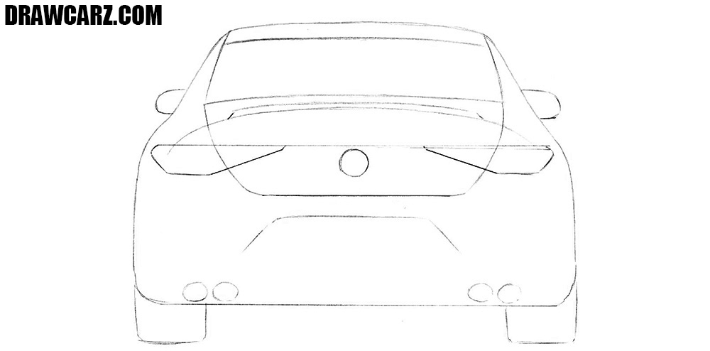 How to draw a car from the back easy