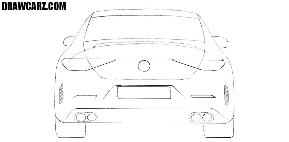 How to draw a car from the back step by step