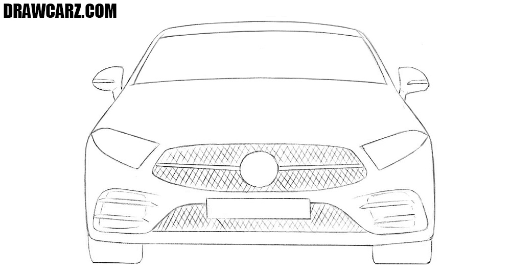 How to draw a car from the front easy