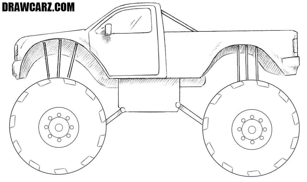 How To Draw A Monster Truck Drawcarz
