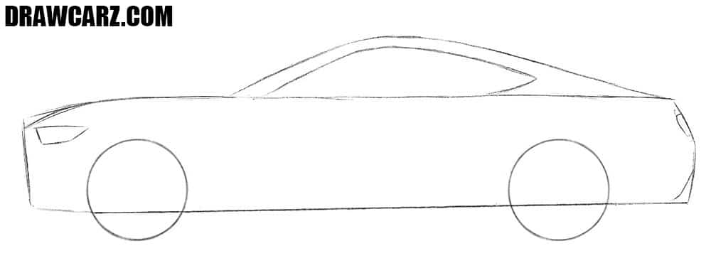 How to draw a Ford Mustang for beginners easy