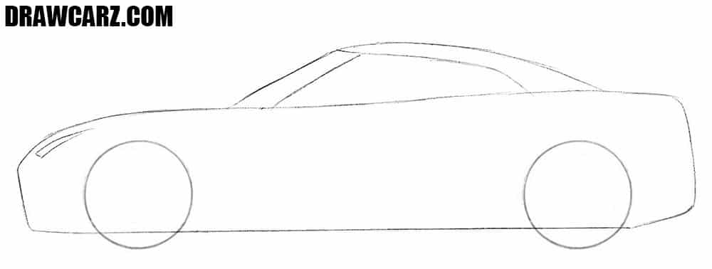 How to draw a Nissan GT-R easy step by step