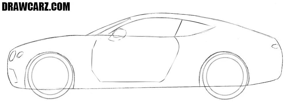 How to draw a Bentley Continental GT step by step