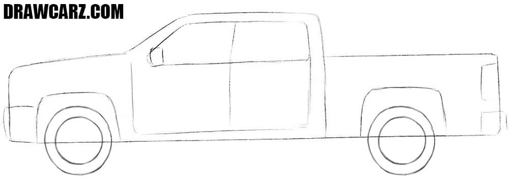 How to draw a Chevrolet pickup