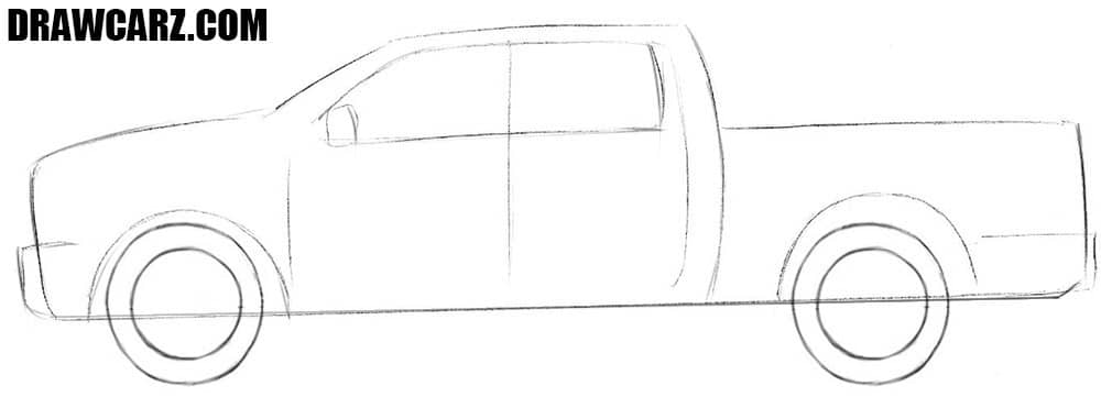 How to draw a Dodge Ram truck