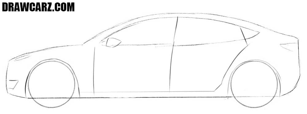 How to draw a Tesla Model 3 step by step
