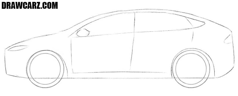 How to draw a big tesla car