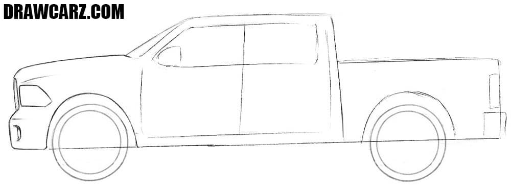 How to draw a Dodge Truck step by step